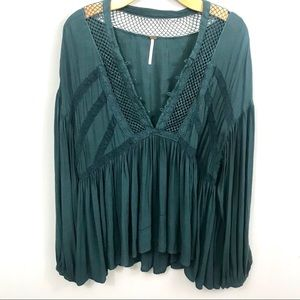 Free People Don't Let Go Peasant Top  Hunter Green